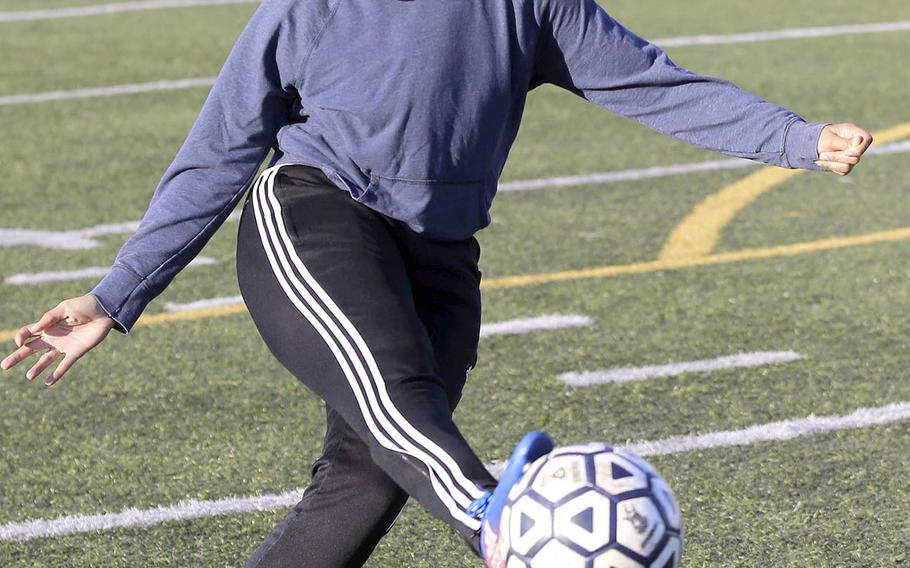 Monique Wilson is part of a Yokota girls soccer defensive core that returns all its members and starting goalkeeper from last year's Far East Division II Tournament champion Panthers.