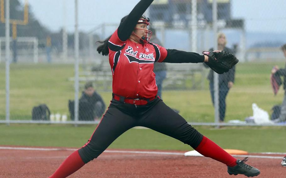 Tori Osterbrink is the second pitcher in her family to suit up for Nile C. Kinnick. Kelly, Class of 2014, pitched the Red Devils to the 2014 Far East Division I Tournament title.