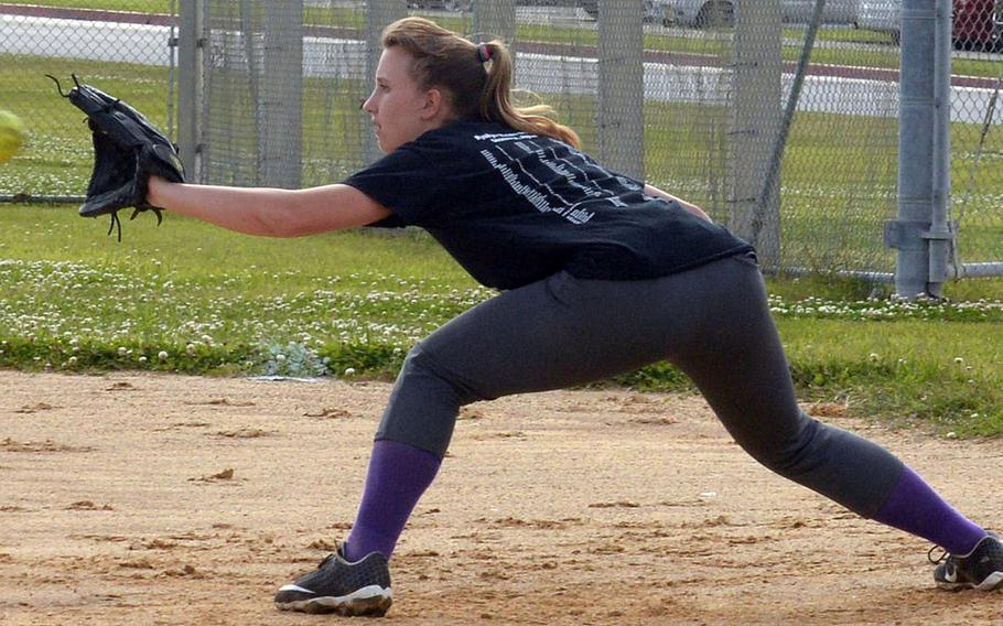 Freshman Jocelyn Powell brings a solid glove and a potent bat to Kubasaki's softball team.