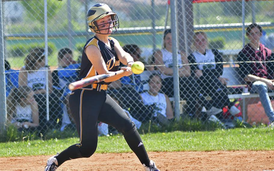 Tessa Houghton, a catcher for Vicenza, hits an RBI double that helped the team close the score in the game between Vilseck and Vicenza that took place Saturday, April 20, 2019, at Caserma Del Din, in Vicenza. Vilseck ended up winning the game 11-10.