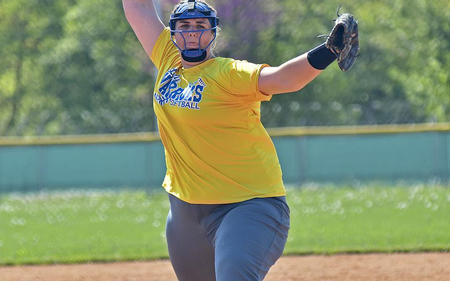 Wiesbaden pitcher Allison Urick delivers a pitch during the game between Wiesbaden and Naples that took place Saturday, April 20, 2019, at Caserma Del Din, in Vicenza. Wiesbaden ended up loosing the game 3-9.