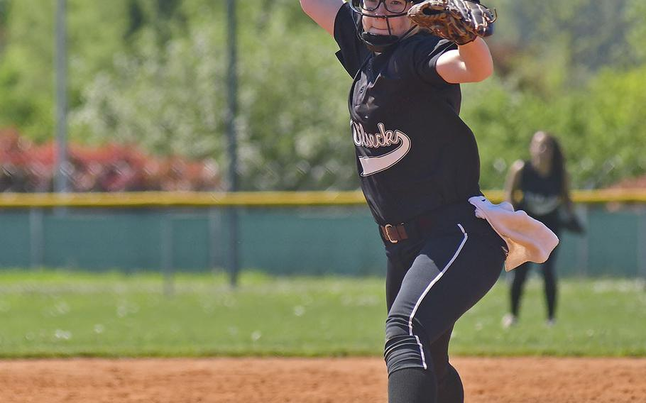 Vilseck pitcher Brianna Kloeckl delivers a pitch during the game between Vilseck and Vicenza that took place Saturday, April 20, 2019, at Caserma Del Din, in Vicenza. Vilseck ended up winning the game 11-10.