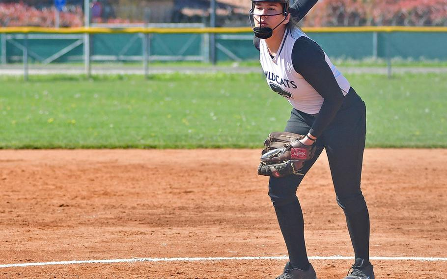 Naples pitcher Chloe Miller delivers a pitch during the game between Naples and Vilseck that took place Saturday, April 20, 2019, at Caserma Del Din, in Vicenza. Naples ended up winning the game 13-9.
