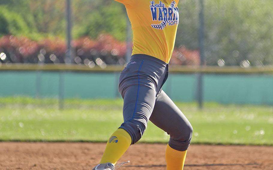 Wiesbaden pitcher Emily Young delivers a pitch during the game between Wiesbaden and Vicenza that took place Saturday, April 20, 2019, at Caserma Del Din, in Vicenza. Vicenza ended up winning the game 14-10.