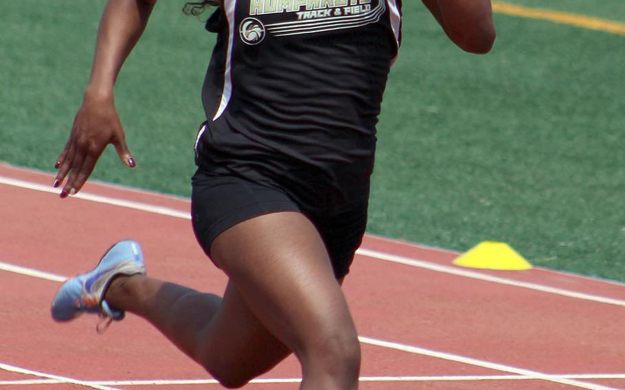 Humphreys junior Jaela Higgs' personal best in the 400 is 58.00 -- .02 seconds behind the Far East meet record.