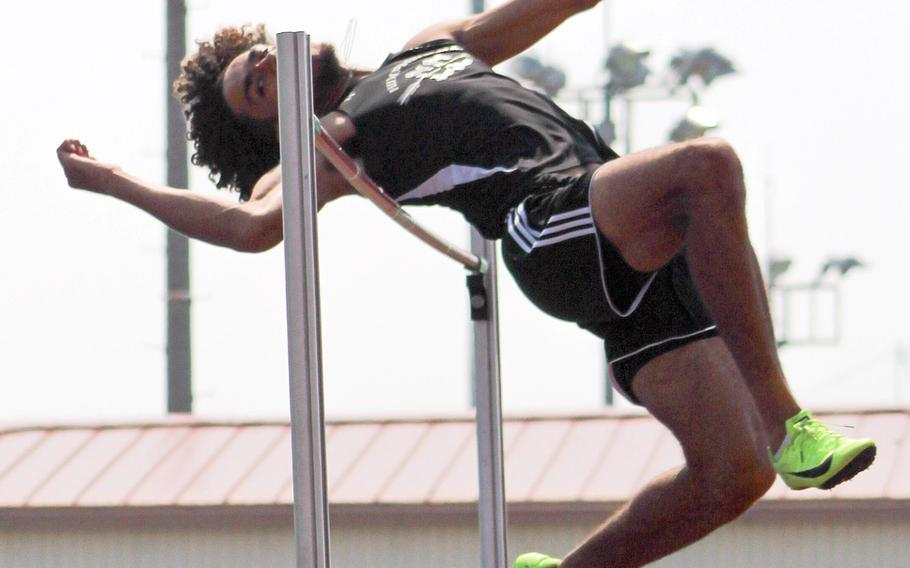 Two-time reigning Far East meet high jump champion Quintin Metcalf, a Humphreys senior, now goes for his third straight title, but also the meet and Pacific record 2.0066 in the event.