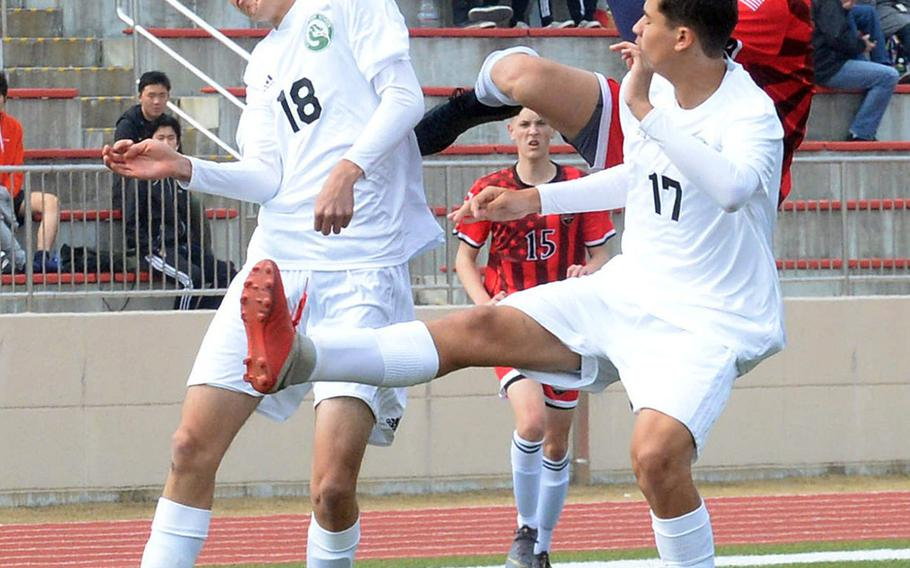 Kubasaki's Joshua Carillo and Alexis Ayala and Nile C. Kinnick's Kai Sullivan faced off in the Perry Cup in March at Marine Corps Air Station Iwakuni, and will play each other at least one more time during this week's Far East Division I Tournament at Kadena.