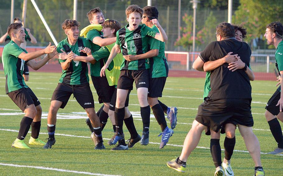 The Naples Wildcats celebrate the boys Division I title after defeating Ramstein 1-0 in the championship game  in Kaiserslautern, Thursday May 23, 2019.