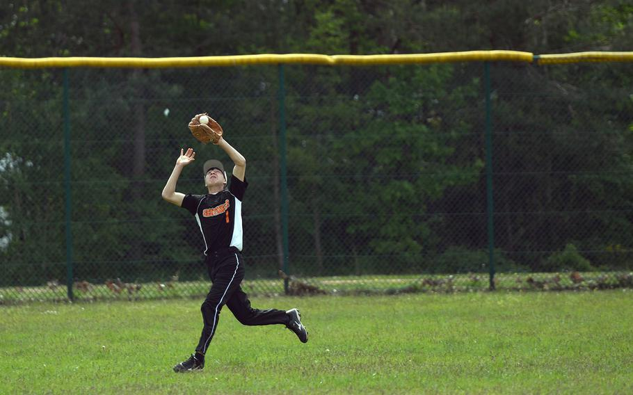 Spangdahlem sophomore outfielder Kayler Lobre makes a catch in the DODEA-Europe Division II championship bsaeball game on Saturday, May 25, 2019. The Aviano Saints captured their first title with a 13-5 victory.
