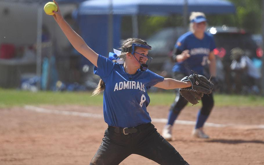 Rota's Savannah Matteson gets set to deliver a pitch in the DODEA-Europe Division II/III softball title game against Sigonella on Saturday, May 25, 2019.
