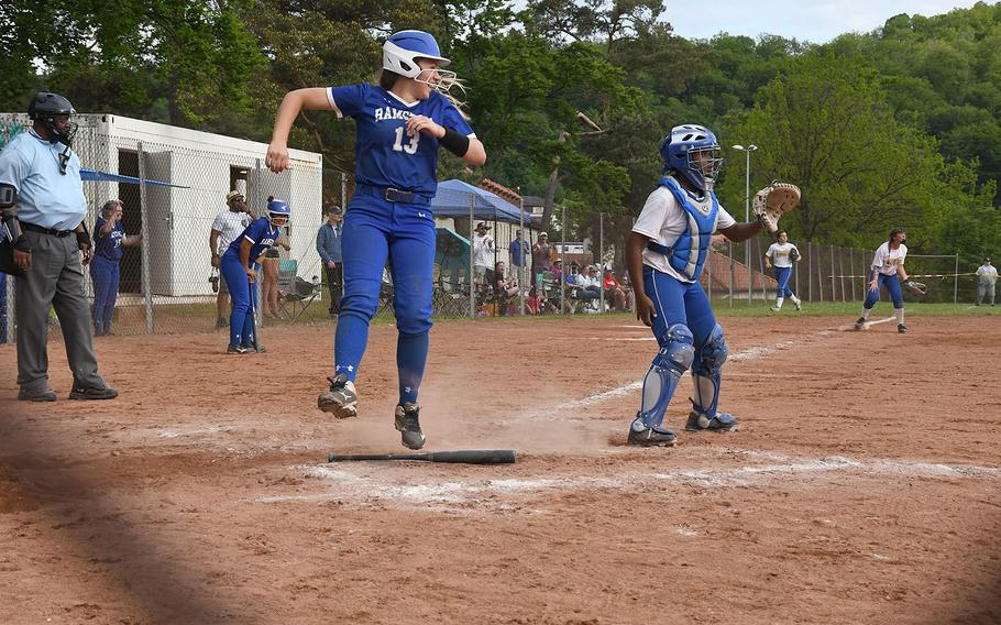 Ramstein's Paige Nielsen crosses home in the DODEA-Europe Division I title game on Saturday, May 25, 2019. Wiesbaden won 9-5.