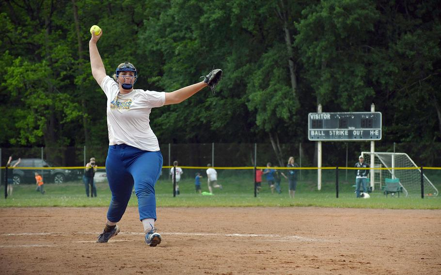 Allison Urick gets set to deliver a pitch in the DODEA-Europe Division I softball championships on Saturday, May 25, 2019. Urick's Wiesbaden team ended a dramatic tournament run with a title, defeating Ramstein.