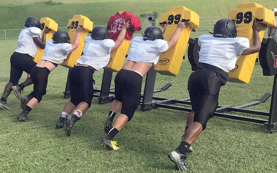 Though three-fifths of the line and 18 seniors graduated, the Panthers have been more agressive and hitting harder in drills than coach Sergio Mendoza says he's seen in years.