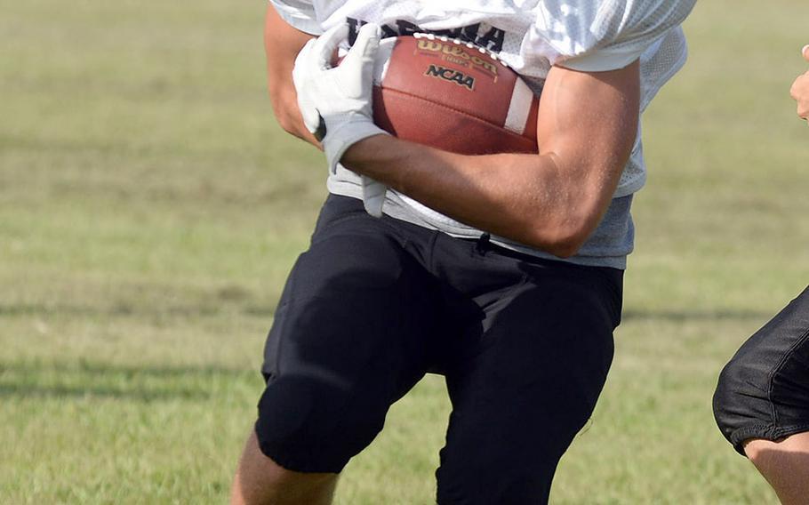 Kadena sophomore Trent Fawler is one of three returning running backs.