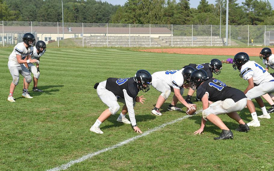 The Hohenfels Tigers run plays during practice on Wednesday, Aug. 28, 2019, at Hohenfels, Germany.