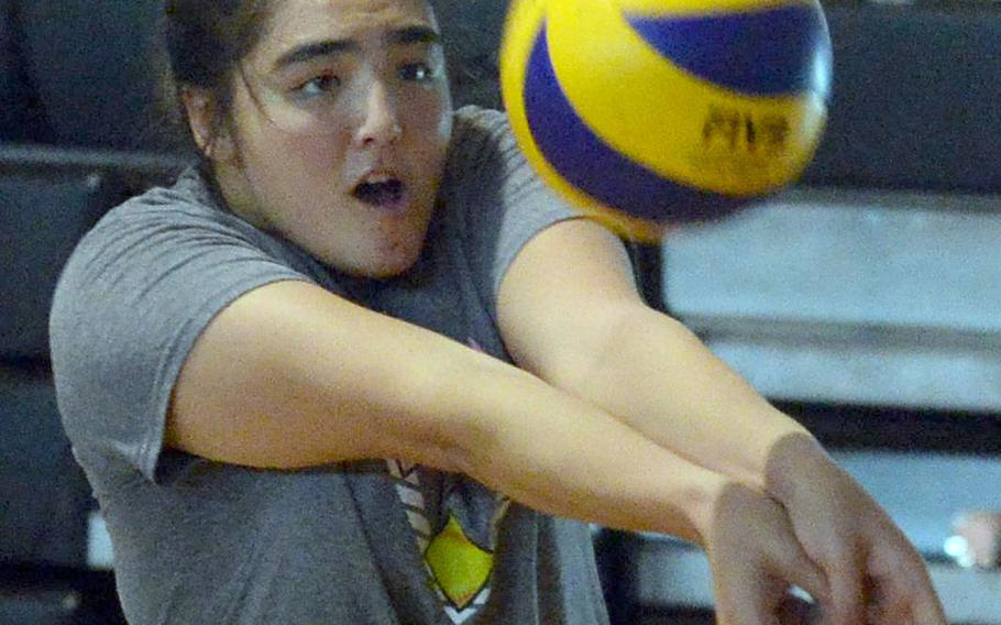 Senior middle blocker Jessica Atkinson is one of a few key returners for Zama's volleyball team.