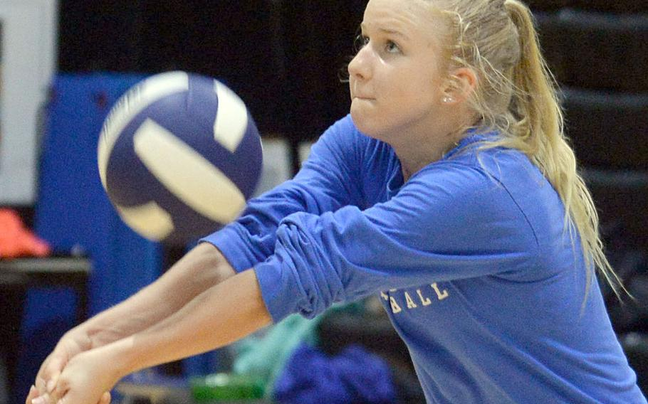 Junior Zoey Weidley, who played last season for defending Far East Division I champion Kubasaki, is one of six players who transferred in to Humphreys' growing volleyball program.