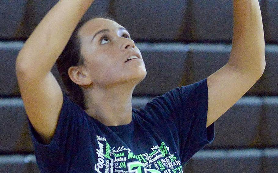 Kubasaki sophomore Alyssa Alvarado has two giant shoes to fill for Dragons girls volleyball: those of departed setter and now St. John's defensive specialist Mimi Larry, who earned Far East Division I Most Valuable Player honors last season.