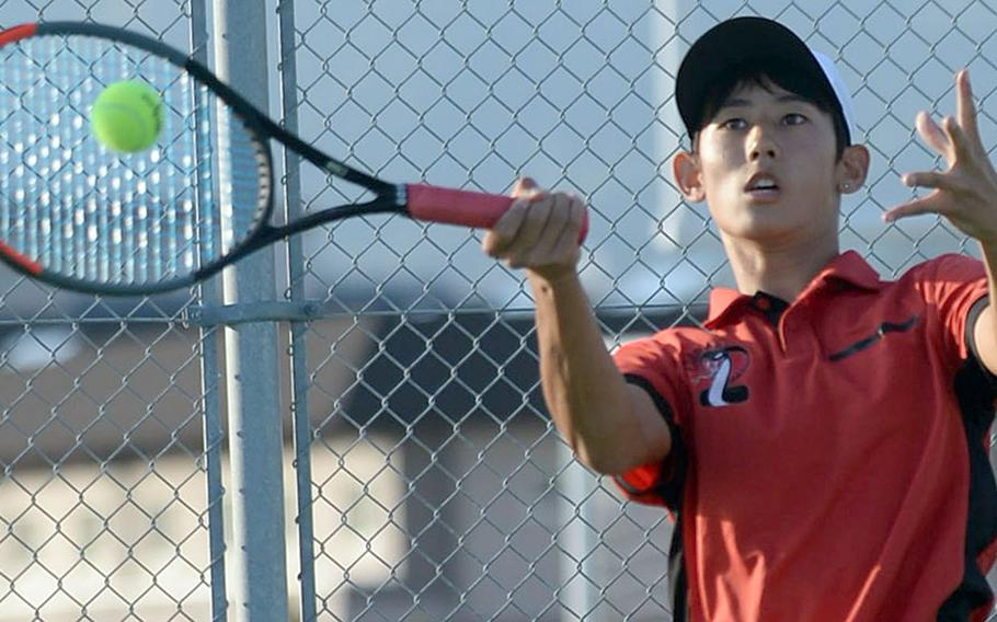 E.J. King sophomore Takumi Kodama enters Far East tennis this week as the reigning DODEA-Japan boys singles and doubles champion.