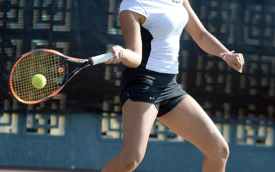 Humphreys senior Melissa Pritchett smacks a forehand return during her Far East tennis singles quarterfinal victory.