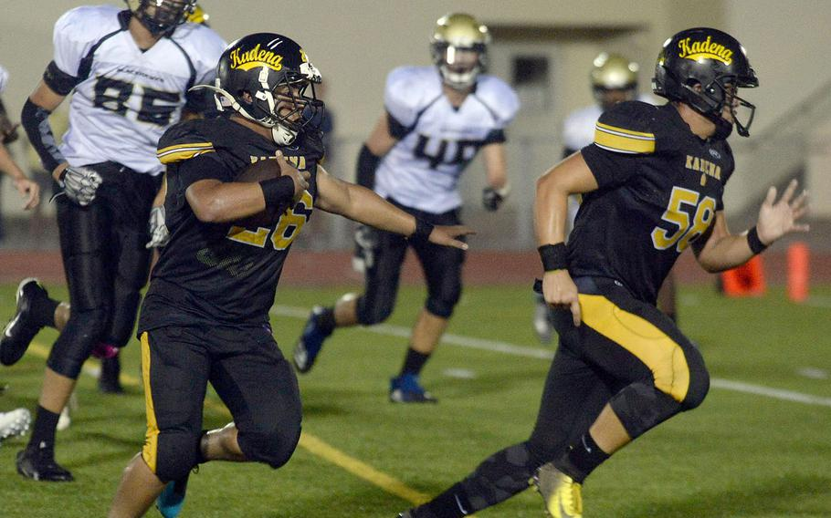 In addition to making tackles, Kadena senior lineman Dean Owen could lead a sweep or two for Panthers running backs such as Alfonso Mendez.