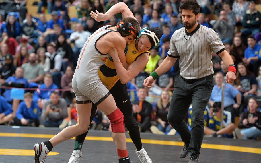 Spangdahlem's Skyler Hickman took the 106-pound title after beating Stuttgart's McKinley Fielding at the DODEA-Europe wrestling finals in Wiesbaden, Germany, Saturday, Feb. 15, 2020.
