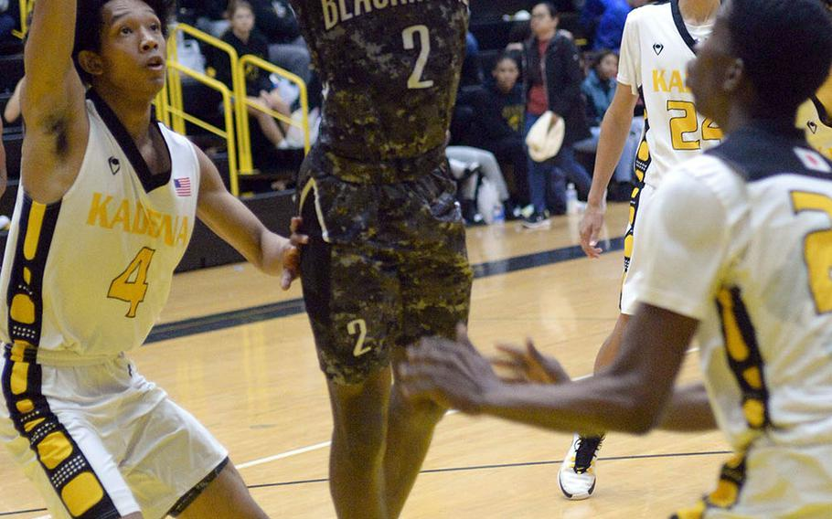 Myles Johnson (2) transferred from Louisiana and filled some vacancies from last season in Humphreys' backcourt; Kai Harris (4) is a second-generation Kadena Panther; his father Marvin played for the Panthers in the early 1990s.