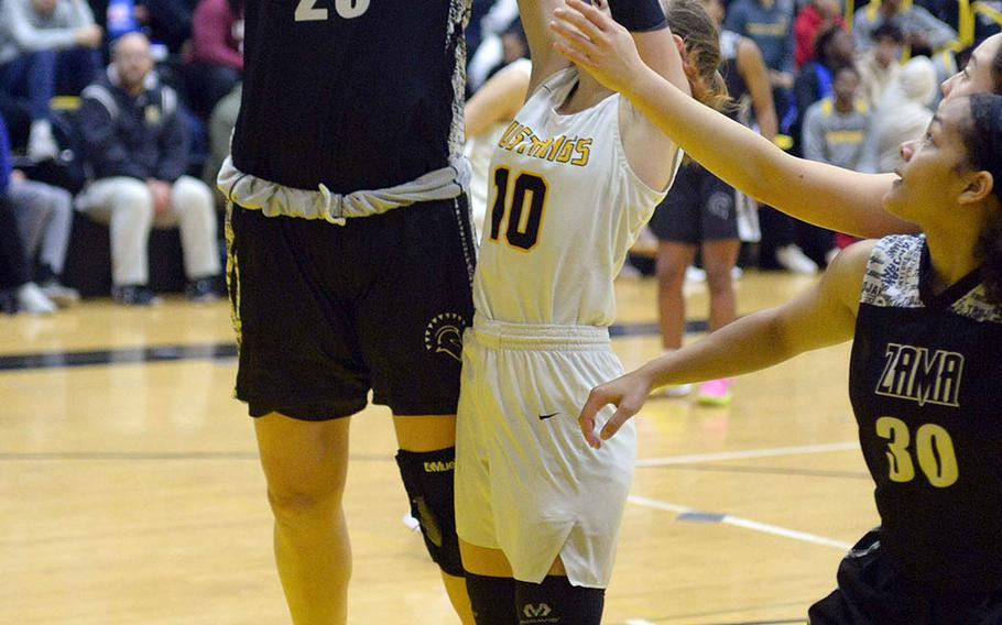 All-Far East senior center Jessica Atkinson is one of three key returning starters for Zama as the Trojans seek to make it back-to-back Far East Division II tournament titles.