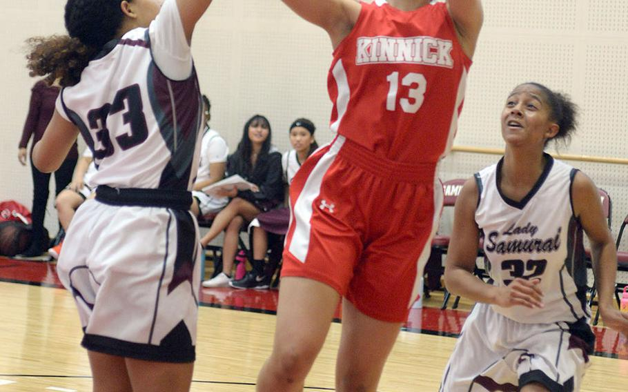 Amyka Jones stars for Nile C. Kinnick's girls, who are trying to end a seven-season title drought in the Far East Division I girls basketball tournament.
