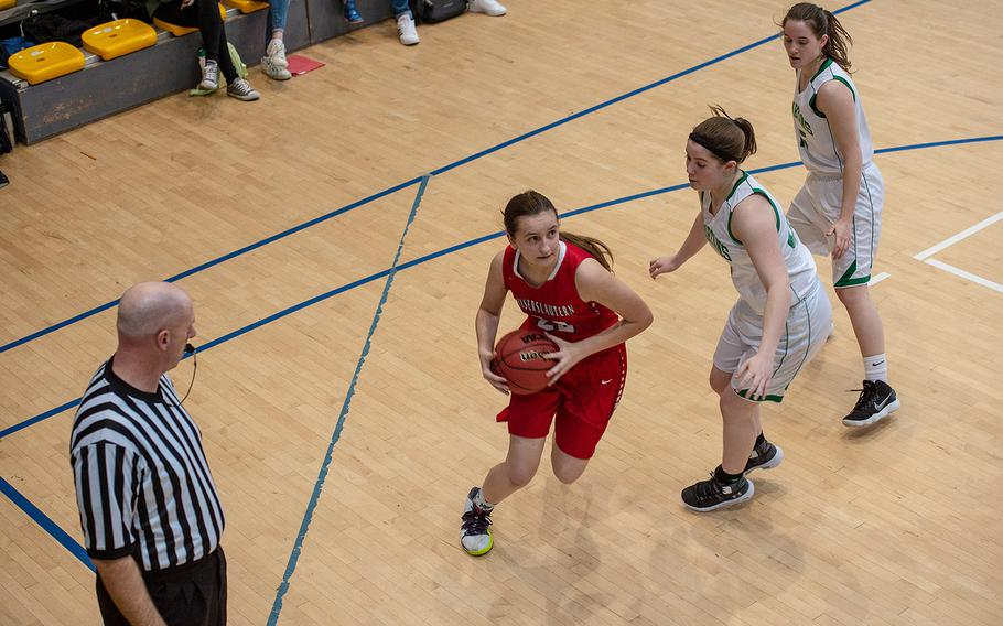 Kaiserslautern's Eden Wheeler drives to the basket during a game against SHAPE during the DODEA-Europe 2020 Division I basketball playoffs at the Southside gym on Ramstein Air Base, Germany, Wednesday, Feb. 19, 2020.