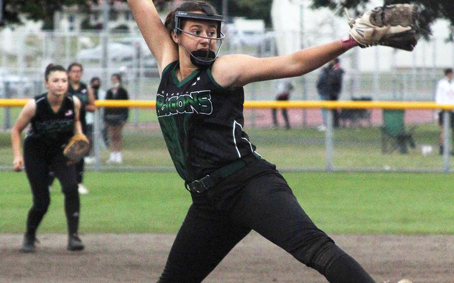 Kubasaki right-hander Haley Patton delivers against Kadena during Wednesday's Okinawa softball game. Patton pitched three innings of relief and got the save as the Dragons beat the Panthers 6-2.
