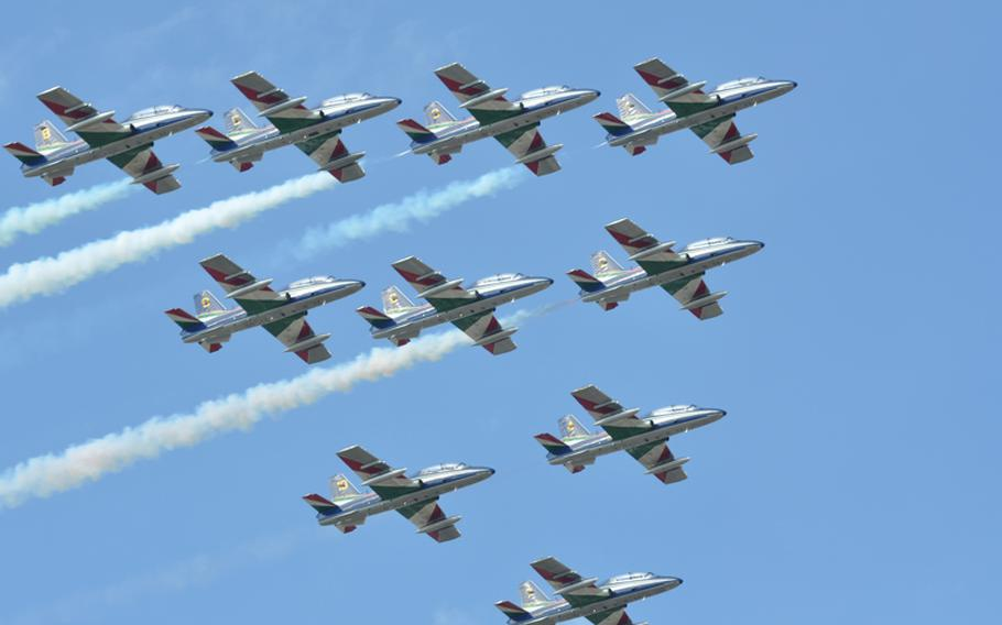 The famed Italian air acrobatic team, Frecce Tricolore, perform in an Italian air show at Jesolo this summer.