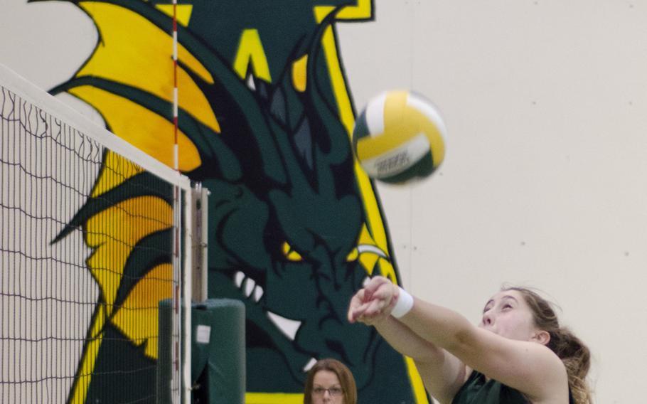 SHAPE's Erin O'Brien bumps a ball during a volleyball match against Alconbury, Saturday. Alconbury blanked SHAPE, 25-6, 25-23, 25-8.