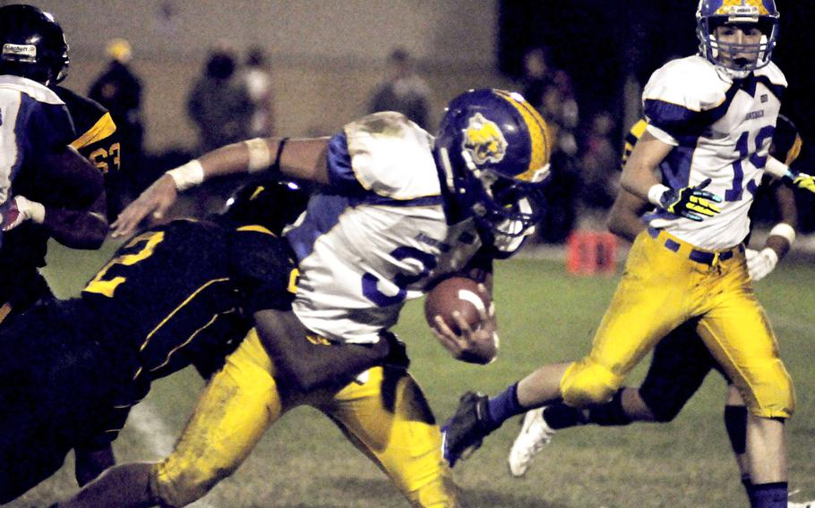 Ansbach's Dorian Jones carried the ball 30 times for 145 yards Friday, leading his team past Vicenza 25-6. The Cougars from Germany stayed unbeaten on the season with the victory and will take the top seed from the south into the playoffs starting next weekend.