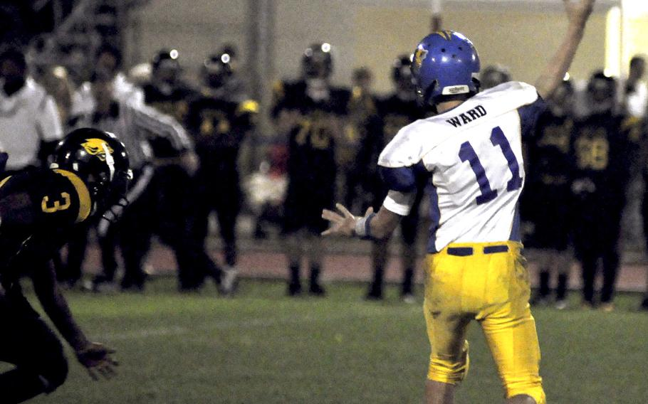 Ansbach quarterback Bailey Ward tosses the ball toward the sideline Friday night against Vicenza. Ward didn't throw it often, but his 49-yard touchdown pass to Brian Debel sealed a 25-6 victory for Ansbach.