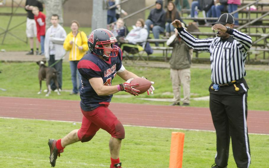 Lakenheath junior Benjamin Ciero scores a touchdown during his team's final game of the season against Patch Saturday, Oct. 19, 2013, at RAF Lakenheath, England. The Panthers won the game 28-27, which allows them to advance to the European Division I semifinals.