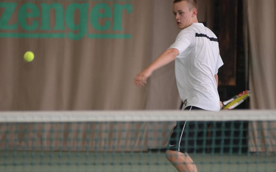Patch's Devin Rehwaldt sets up for forehand shot Thursday against Schweinfurt's Tyler Cunningham at the 2013 DODDS European Tennis Championships. Rehwaldt defeated Cunningham 6-0, 6-0.
