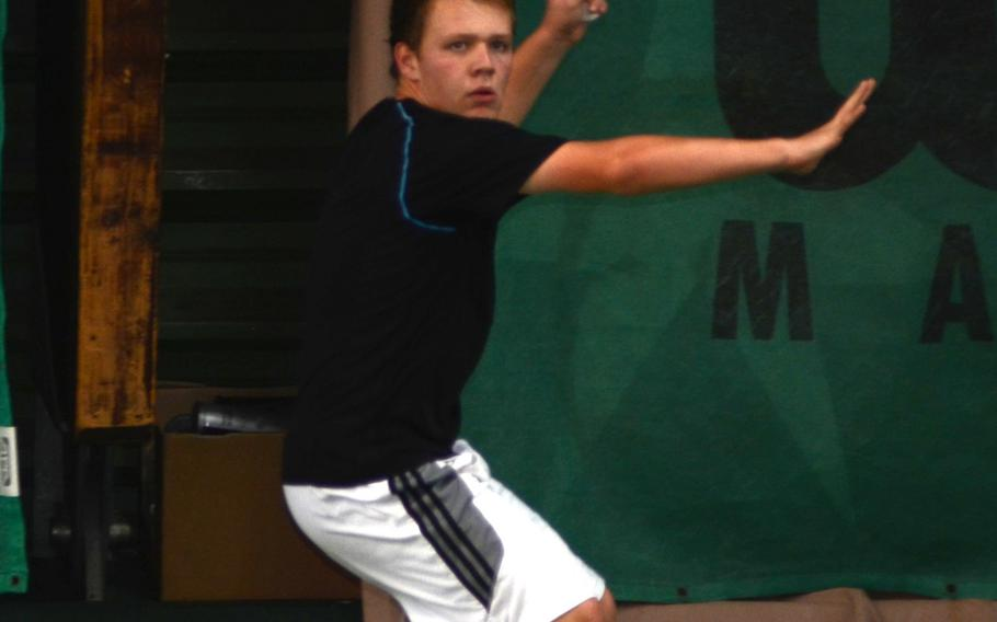 Naples' George Shaffer prepares a forehand Thursday against Ramstein's Nathan Setka at the 2013 DODDS European Tennis Championships.  Shaffer went on to beat Setka 6-1, 6-3. The tournament runs through Saturday, with boys and girls singles and doubles champions crowned.