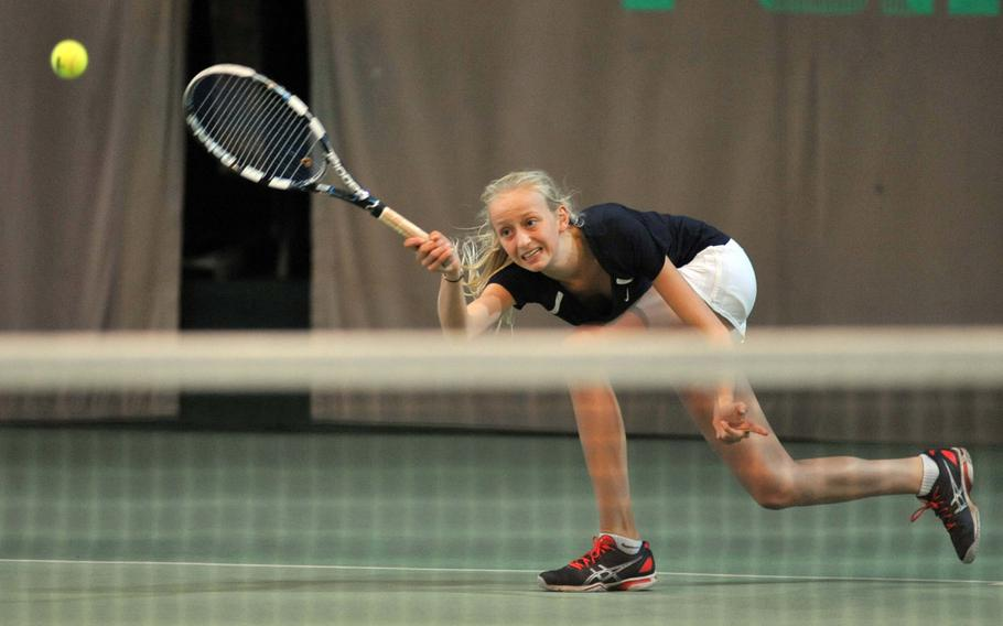 ISB's Anouchka Laurent Josi stretches to return a shot by Patch's Marina Fortun in a semifinal match at the 2013 DODDS-Europe tennis championships at Wiesbaden, Germany, Friday, Oct. 25, 2013.