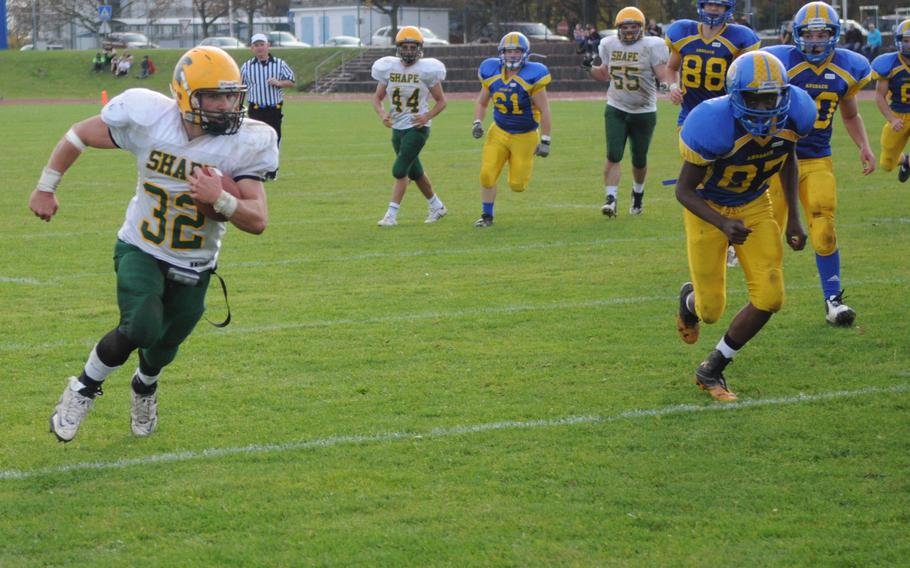 SHAPE running back Conner Manning rushed for 138 yards and one touchdown in SHAPE's 23-22 victory over Ansbach.