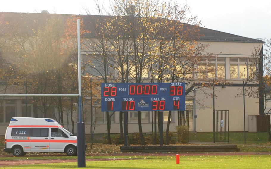 The scoreboard reflects Hohenfels' 38-28 Division II semifinal win over Bitburg Saturday, Oct. 26, at Bitburg, Germany. The loss was Bitburg's first since 2009.