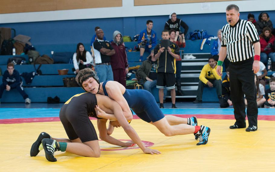 Black Forest Academy wrestler David Crouch, right, went 3-1, placing third in the 126 pound weight class. Here, he jockeys for position over Patch High SchoolÕs Elijah Phillips who was 2-2 on the day.