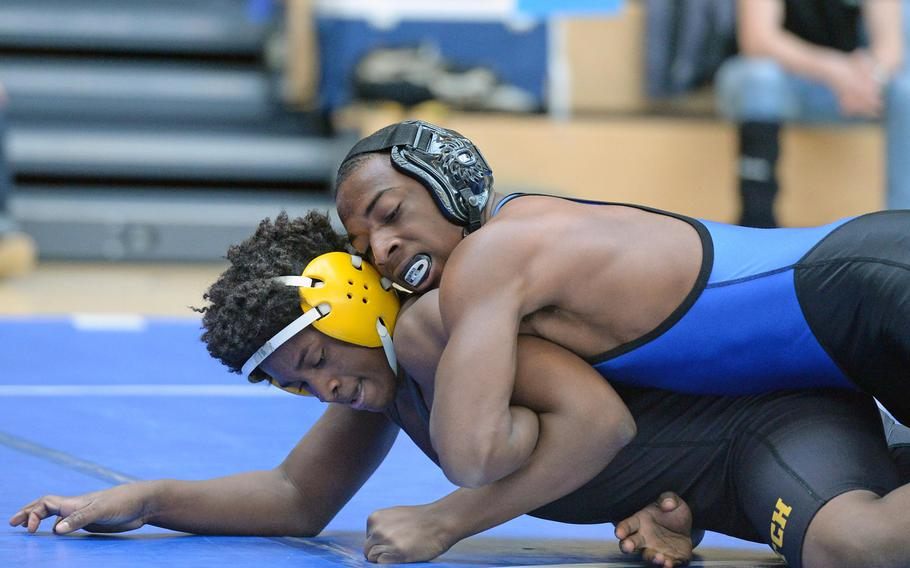 Marcus Dudley of Hohenfels won his 152-pound match against Patch's Braxton Mims in first round action on the first day of the DODDS-Europe wrestling championships in Wiesbaden, Germany, Friday, Feb. 14, 2014.