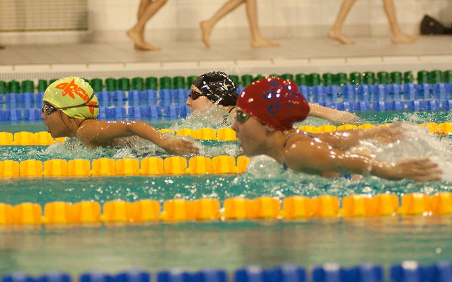 During the initial leg of the 10-year-old girls' 200-meter individual medley, Kayl Vilescas lead Grace Wagner and Sydney Lema, on Sunday, March 1, 2015r. Rota's Wagner ended up winning the heat.