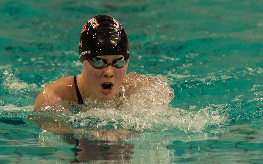 Lakenheath's Alaina Scifo had a nearly flawless weekend at the 2015 European Forces Swim League championships held in Eindhoven, Netherdlands, Feb. 28-March 1, 2015. Scifo won gold in all but one event.