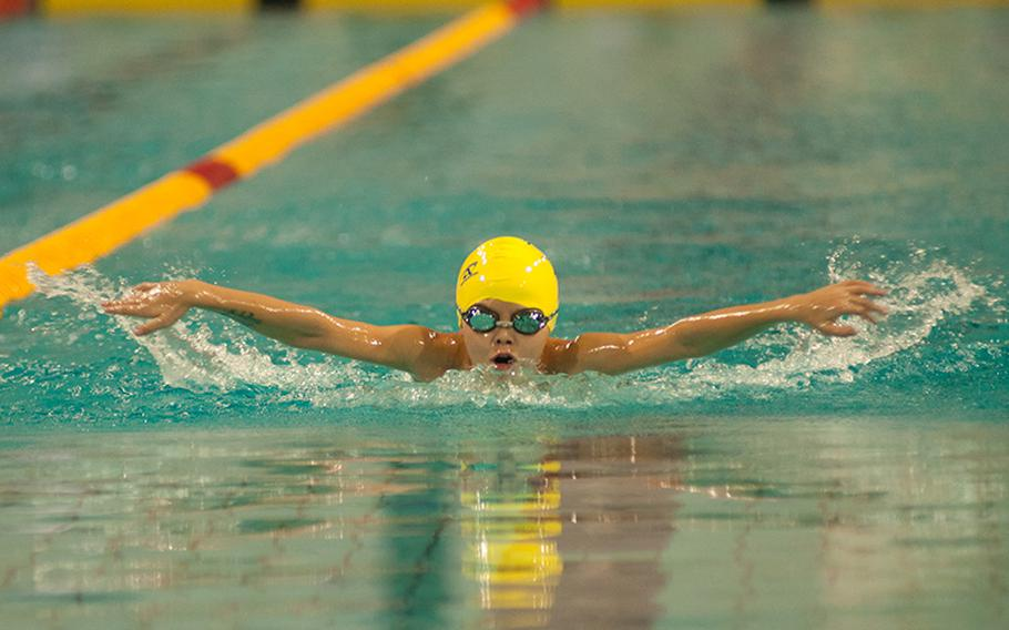 C.J. Davis, a Sigonella swimmer, won the  boys 9-year-old 200-meter individual medley with a time of 3 minutes, 18.14 seconds on the last day of the 2015 European Forces Swim League championships, March 1, 2015. Davis was the top scorer in his age bracket with 151 points.