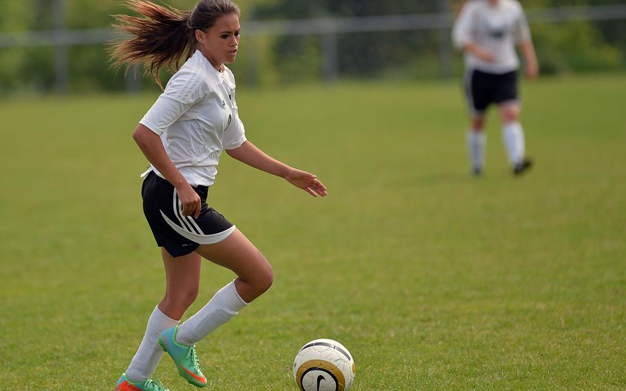 Jill Thurston of Naples drives the ball upfield in a Division II game at the DODDS-Europe soccer championships in Reichenbach, Germany, Wednesday, May 21, 2014. Thurston will be returning for the Wildcats who have moved up to Division I this year.
