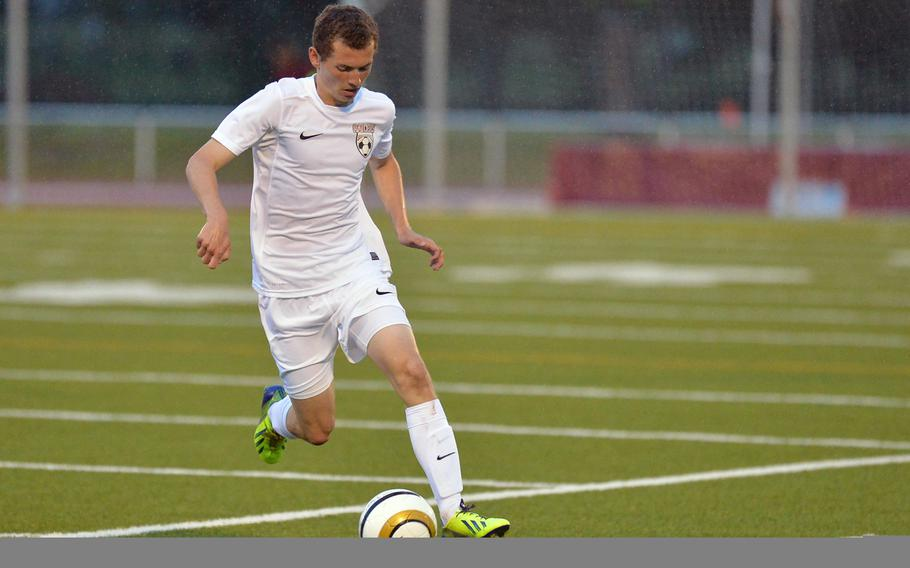 Kaiserslautern's Sean Dunbar drives upfield in last season's Division I final against Ramstein at the DODDS-Europe soccer championships in Kaiserslautern, Germany. Dunbar will be returning for the Raiders when the 2015 season gets under way.