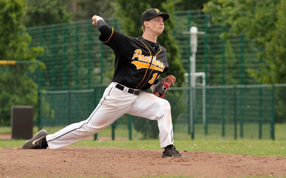 Patch pitcher Andrew Buxkemper hurls the ball in last season's DODDS-Europe Division I baseball championship game. Buxkemper will be returning for the Panthers this season.