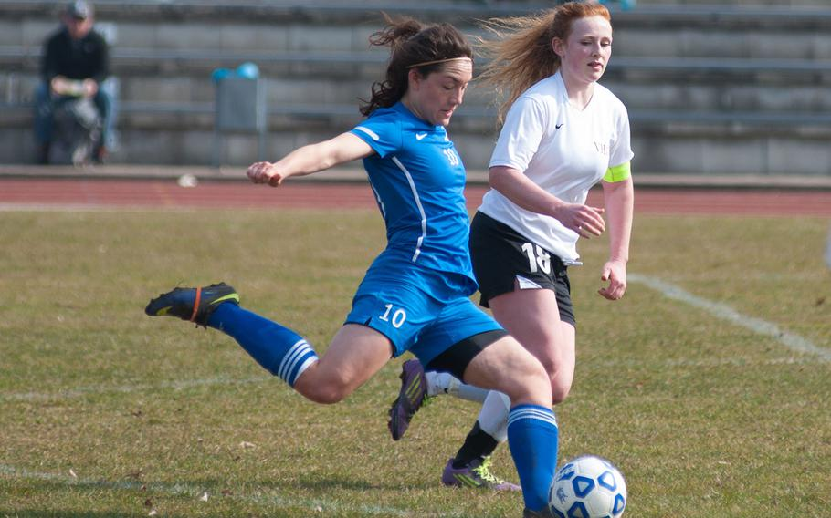 Ebony Madrid scored 3 consecutive goals for the Ramstein Royals as they rolled over Vilseck 7-0 during the DODDS-Europe Division I soccer opener, Mar. 21, 2015.
